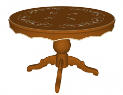 Circle wooden table with golden pattern sketchup
