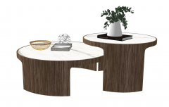 Combination 2 circle tea tables with marble table top skechup