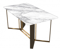 White rectangle table sketchup