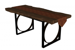 Wooden table with blanket sketchup