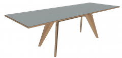 White wooden rectangle table sketchup