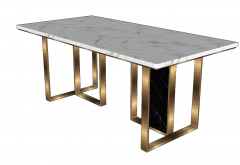 White rectangle table with golden frame sketchup