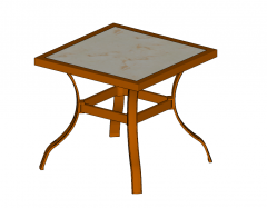 Golden frame table with white marble table top sketchup