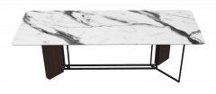White marble table with brown leather pedestal sketchup