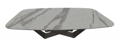 White marble oval table with dark frame sketchup
