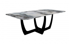 White marble table with dark wooden frame sketchup