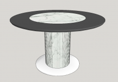 Gray coffee table with marble center sketchup