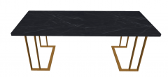 Dark marble rectangle table with copper leg sketchup