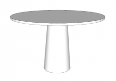 White wooden circle table sketchup