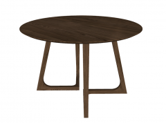 Wooden circle table with wooden frame base sketchup