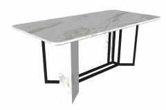 White marble table with dark frame and white marble sketchup