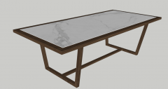 White marble table with wooden frame sketchup