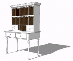 Wooden make-up table with open shelf sketchup