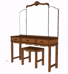 Wooden make-up table sketchup