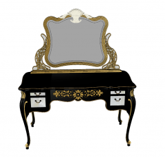 Dark wooden make-up table with mirror ( golden border) sketchup