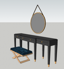 Dark wooden make-up table with 3 drawers and hanging circle mirror sketchup