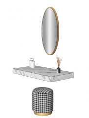 Wall mounted marble make-up table with oval mirror sketchup