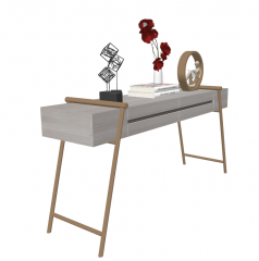 Gray Wooden make-up table with decoration sketchup