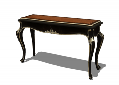 Dark wooden table with silver mosaic detail sketchup