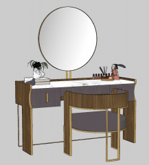 Wooden make-up table with circle mirror on wall sketchup