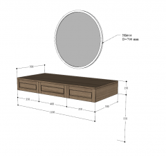 Wall wooden mounted with circle mirror sketchup