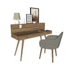 Wooden table with chair and decorative picture sketchup