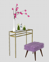 Frame table with violet leather chair sketchup