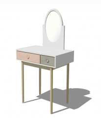 Wooden make-up table with oval mirror and color drawer sketchup