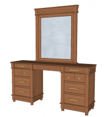 Wooden make-up table with drawer both side and rectangle mirror sketchup