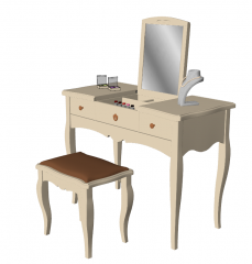 Wooden make-up table with folding rectangle mirror sketchup