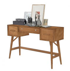 Brown wooden make-up table with picture on table sketchup