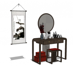 Chinese wooden make-up table with picture sketchup