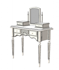 White wooden make-up table with mirror sketchup