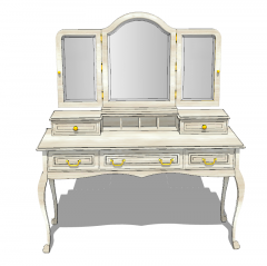 Wooden make-up table with 3 mirrors sketchup