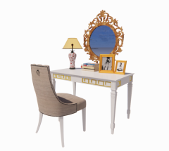 White table with chair and mirror revit family