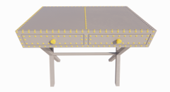 Steel make-up table with 2 drawers revit family