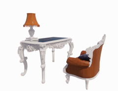 Neoclassic table and chair with table lamp revit family