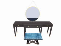 Dark table with scissors chair and hanging mirror revit family