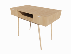 Wooden rectangle table with 2 drawers  revit family