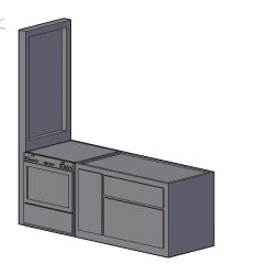 small simple designed compact kitchen platform 3d model .dwg fromat