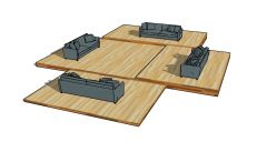 large designed modern looking courtyard sofa 3d model .skp format
