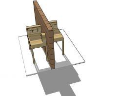 Small scale wooden design davenport table 3d model .skp format