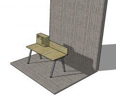 Simple small designed davenport 3d model . skp format