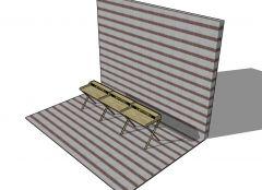 medium sized wooden davenport table 3d model .skp format