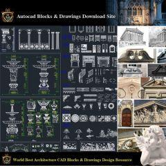 【建築装飾CADブロックバンドル】新古典主義とロマンチックな建築デザイン要素