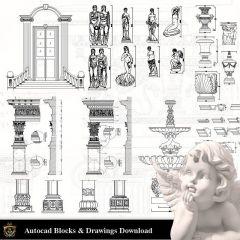 CAD-Blöcke für architektonische Dekorationselemente V.2