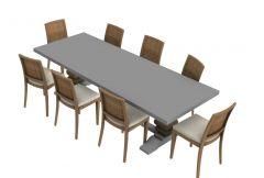 modern dinning table with sitting of eight 3d model .3dm format