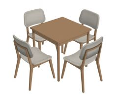 modern dinning table with sitting of four 3d model .3dm format
