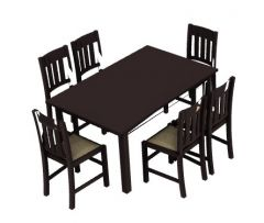 wooden dinning table with sitting of six 3d model .3dm format