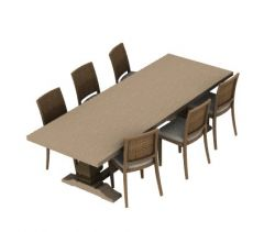 dinning table with six sitting 3d model .3dm format
